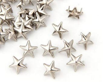 10 rivets / studs for customization of fabric star in silver metal 7mm
