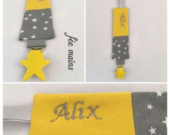 Pacifier clip personalized starry cotton fabric gray and yellow with embroidered name