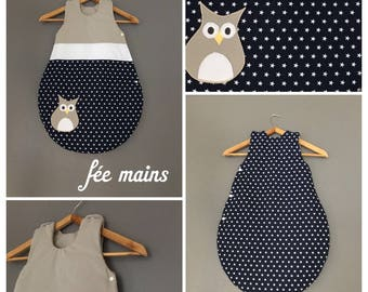 Sleeping bag 0-6 months cotton Blue Navy white stars, white and Taupe with OWL