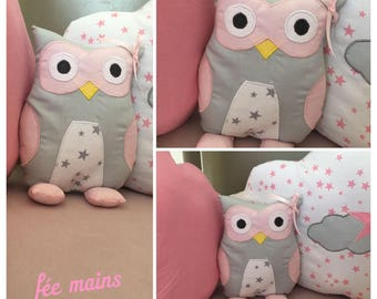 Plush or plush OWL or grey OWL and pink unique and original handmade gift