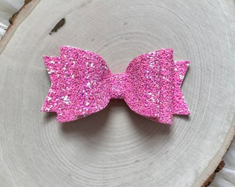 Hot Pink Glitter Bow, Pink Hair Bow, Girls Pink Bow, Baby Pink Bow