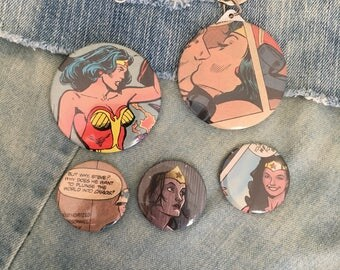 Wonder Woman pin/button set, Wonder Woman Starter Pack,  vintage wonder woman comic, comic book buttons, wonder woman