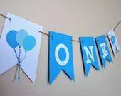 Blue Balloons High Chair Banner- High Chair Banner - 1st Birthday - Balloon Banner