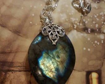 Labradorite gemstone and filigree necklace