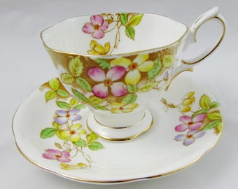 """Vintage Royal Albert """"Clematis"""" Tea Cup and Saucer, Hand Painted, Bone China"""