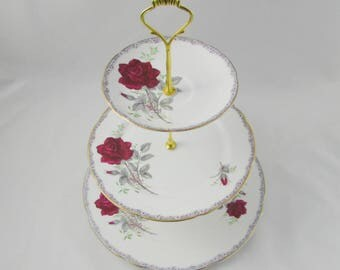 """Three Tier Cake Stand Made from Royal Stafford """"Roses to Remember"""" Plates, Vintage Bone China, Red Rose"""