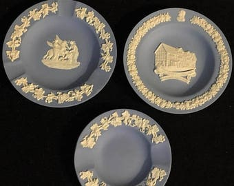 Presidential Savings 3 Wedgwood Blue Jasper Ware Pin Dishes Shakespeare's Home Victorian Elegance