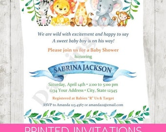 "SALE Custom Printed 4.25X5.5"" Watercolor Wild Animals, Jungle, Safari, Boy, Girl, or Gender Neutral Baby Shower Invitations, envelopes inclu"