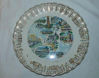 Vintage 50s Wakulla Springs Florida Souvenir Plate