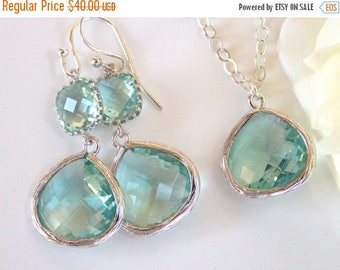 SALE Wedding Gifts, Blue Mint Earrings and Necklace Set, Erinite, Aqua, Sterling Silver, Bridesmaid Pendant Set, Wedding Gifts, Dangle,Gift,