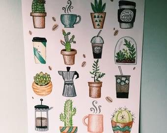 FLASH SALE - 10% OFF- Cactus & Coffee Wall Print