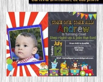 50% Off Carnival Invitation, Circus photo, Circus Birthday, Chalkboard, Birthday party, One Birthday Carnival Circus, First Birthday, Circus