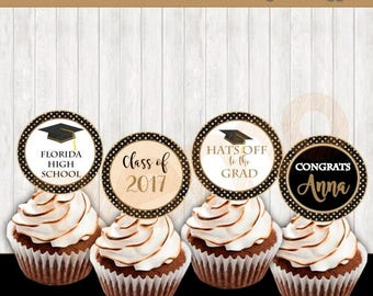 50%Off Graduation Decorations, Printable Cupcake Toppers, Graduation Toppers Cupcake, Graduation Stickers, Party, Graduation Gold and black