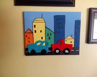 City Painting with Crochet Car & Truck Applique