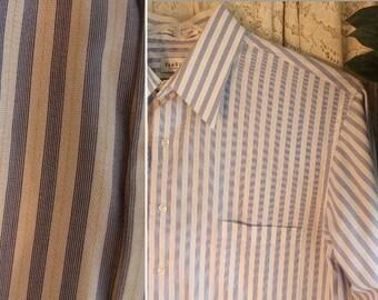 Vintage COTTON BLEND SHIRT Size Large 16 - 16 1/2 34 / 35 Long Sleeve Stripe Pinstripe Dress Business Casual Prep Classic Blue & White Work