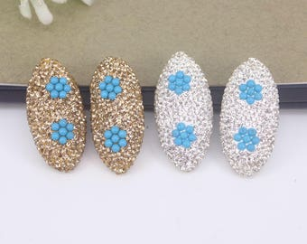 10pcs Crystal Rhinestone Connector Beads,Oval Beads,With Plastic Beads For Jewelry Making