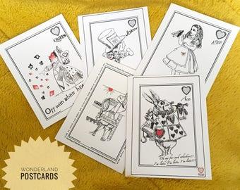 Wonderland artwork-Wonderland Postcards-Alice in Wonderland-book lover-Sir John Tenniels illustrations-Wonderland illustrations