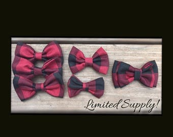 Red and Black Buffalo Plaid/Upcycled Bow/Headband/Hairclip/girls/baby/infant/teen/adult/hair