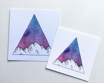 Triangle Galaxy Watercolor Painting, Mountain Painting, Galaxy Art Print, Watercolor Galaxy, Watercolor, Digital Print, Galaxy Painting, Art