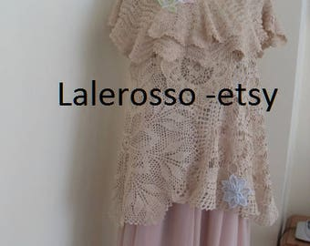 Bridal crocheted dress two piece from small doily  and refreshing elements skirt chiffon long. Size 18 USA