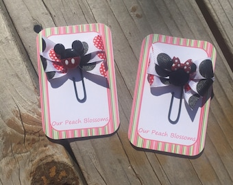 Mickey and Minnie Black and Sparkling Red Disney Bow Planner Clips