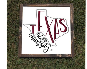 Texas Aggies Framed Canvas Sign Texas A&M University