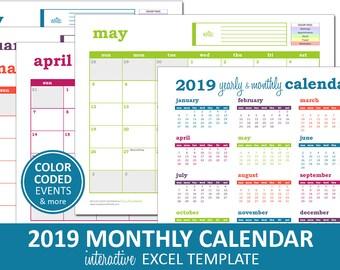 Deluxe Event Calendar - 2019 | Printable Excel Calendar Template | Monthly Calendar | Instant Digital Download