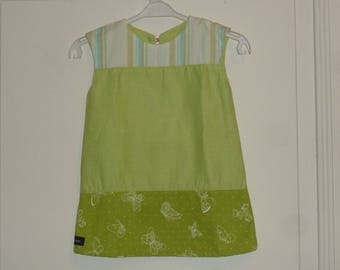 Dress baby 12-18 months, green, stripes and butterflies