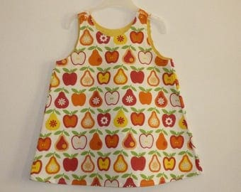 Dress apples and pears orange yellow red on ecru background - strapless - 12 months