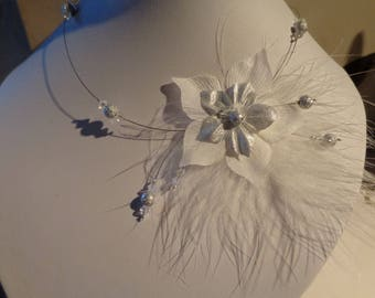 Bridal Silk Flower necklace grey and white feather wedding bridal unique