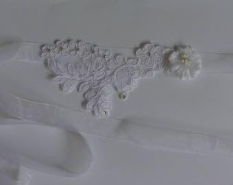 wedding lace stitched flower headband