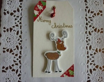 Hand lettered bookmark Christmas, reindeer and a massage.