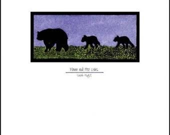 "Mama & Cubs - Black Bears - 8""x10"" Unframed Giclee Print"