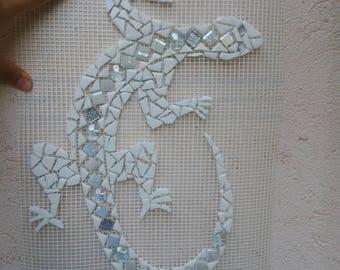 Salamander mosaic enamel white glass to order