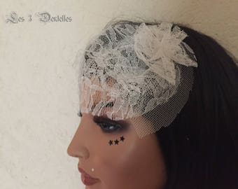 fascinator wedding retro ivory lace * 3 lace *.