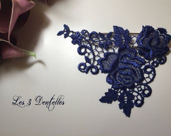 Attached train wedding brooch lace Blue King flower * 3 lace *.