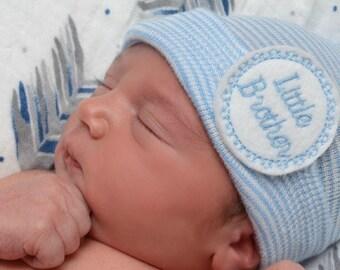 hospital hat for newborn baby boy, Little brother baby hat, blue newborn hospital hat, newborn baby boy brother brother baby boy little bro