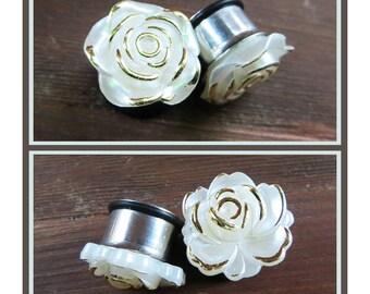 "Frosted Flowers u pick rose Wedding EAR TUNNEL PLUGS stainless steel earrings gauge  2g, 0g, 00g, 1/2"", 9/16"" aka 6mm, 8mm, 10mm, 12mm 14mm"