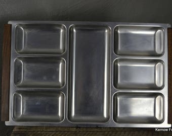Retro Danish Stainless Steel Serving Tray