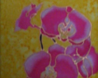 Pink Orchid bouquet painting on gold