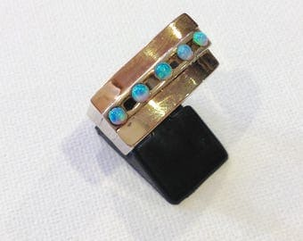 Vintage Sterling silver gold opals ring Israeli jewelry design statement ring
