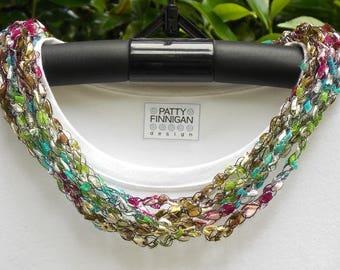 Crochet Ladder Yarn Necklace, Lily Pads Sparkle