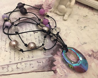 leather and Crystal beads necklace