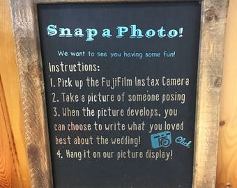 Fuji Film Instax Camera -Snap a photo rustic reclaimed wooden sign