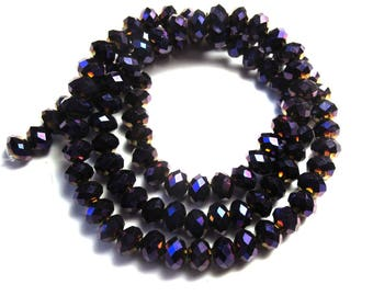 20 ROUND PURPLE CRYSTAL BEADS IRIDESCENT FACETED 6 MM