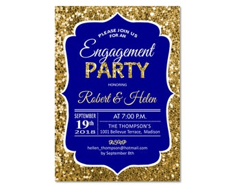 Engagement Party Invitation / Glitter Gold Royal Blue / Navy / Digital Printable Invitation / Customized