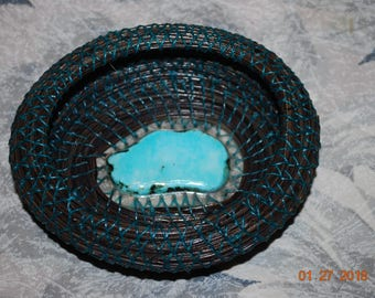 "Pine Needle Basket ""Tuquoise at Midnight"""