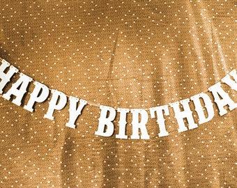 HAPPY BIRTHDAY Banner Party Decoration Bunting Garland Western Handmade / reception banner
