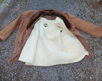 Canadian canvas and lined fur jacket