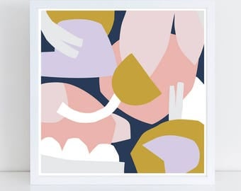 Abstract art print, abstract wall art, colorful wall art, scandinavian print, 12x12 art print, collage art, blue, blush, navy, lavender